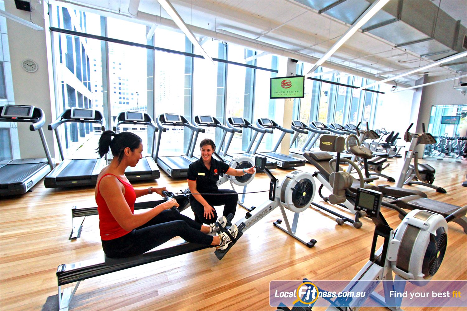South Pacific Health Clubs Near Southbank Treadmills, cross trainers, cycle bikes rowers and more.