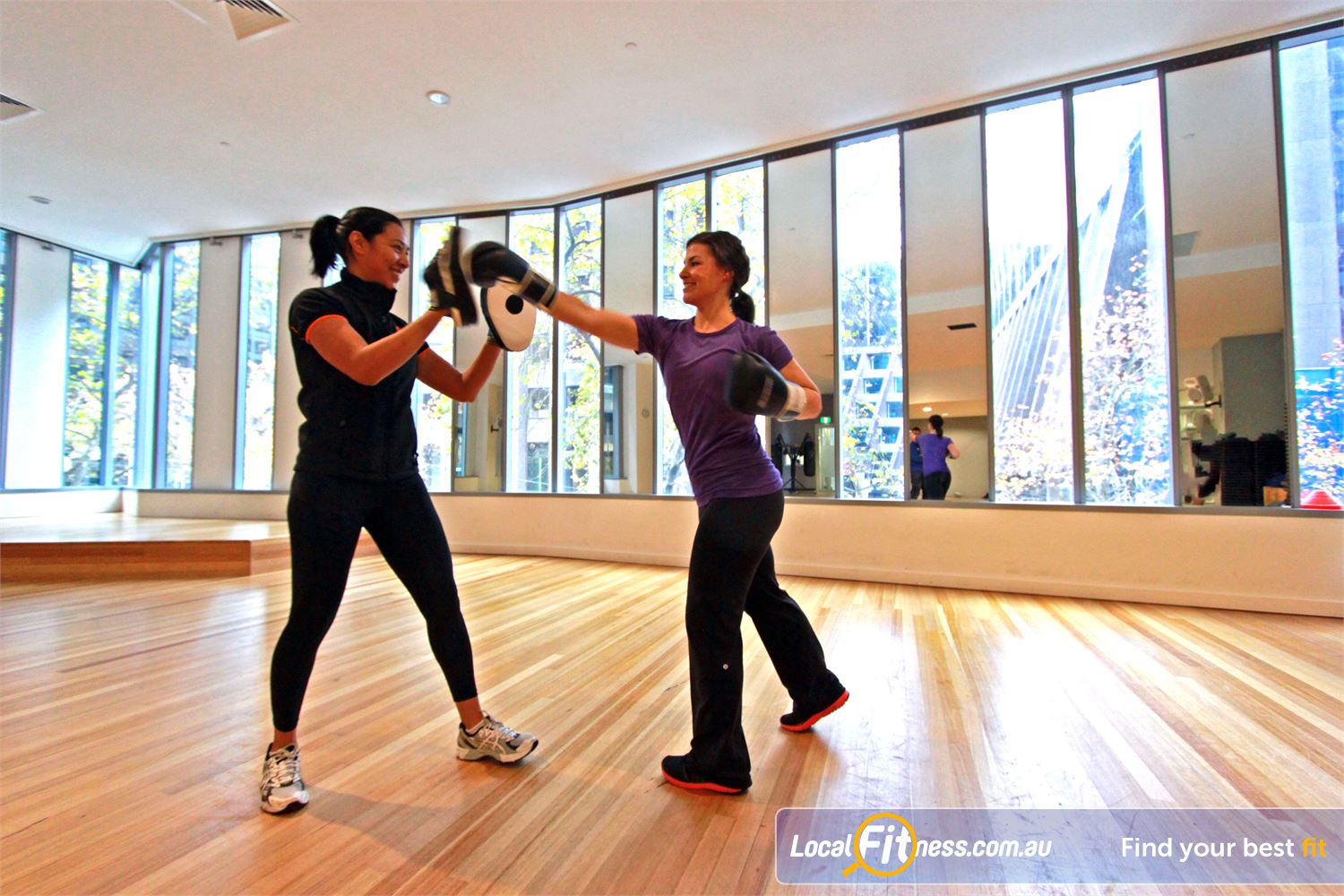 South Pacific Health Clubs Near South Melbourne Burn calories with energetic boxing sessions with your personal trainer.