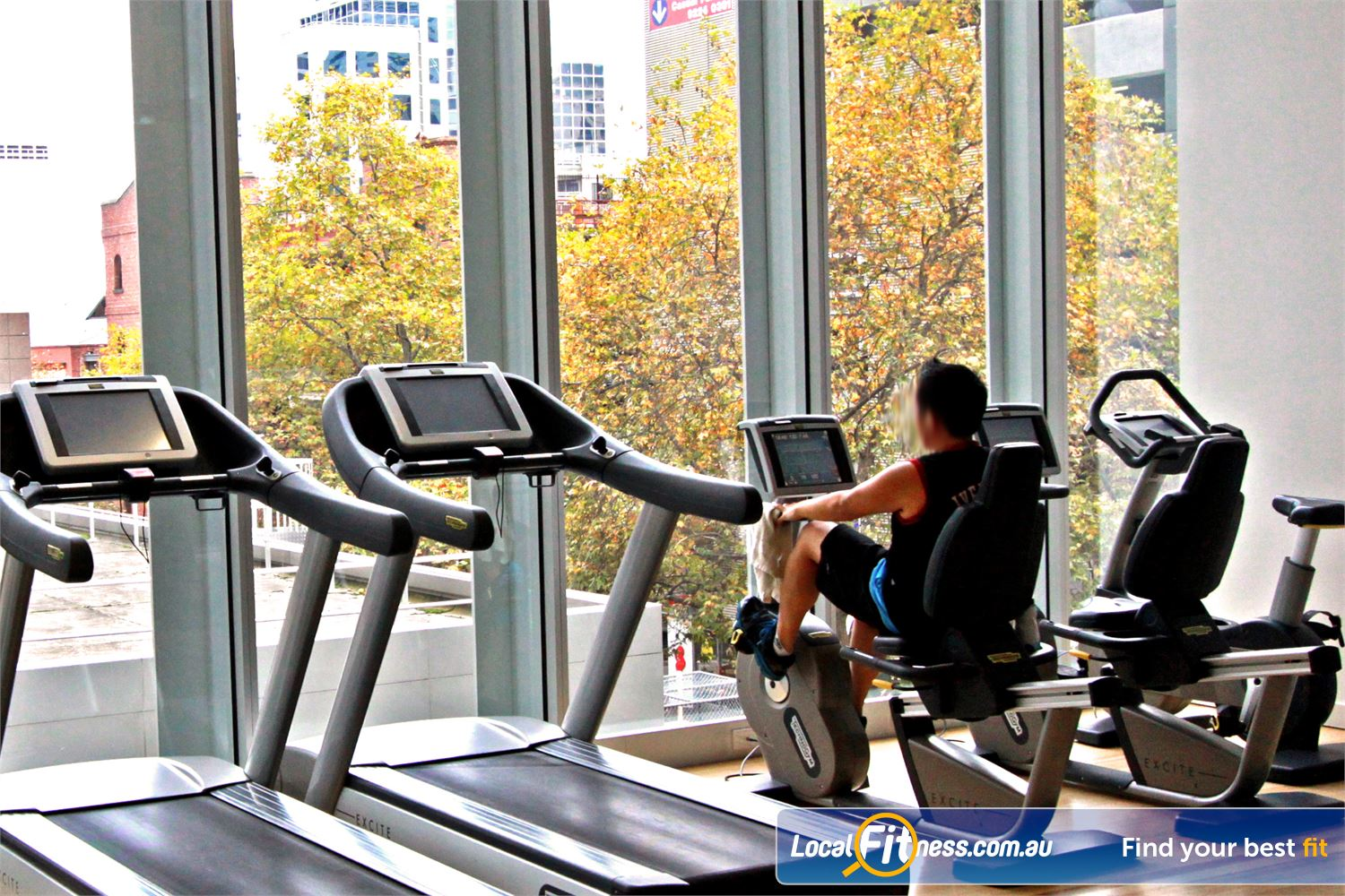 South Pacific Health Clubs Melbourne The open plan cardio area provides scenic views of the Melbourne city streets.