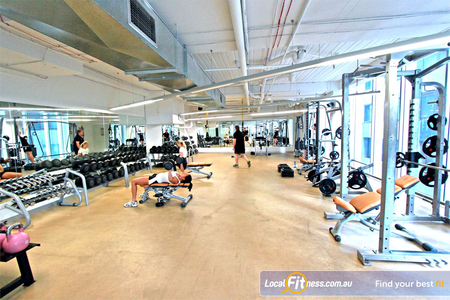 South Pacific Health Clubs Melbourne The fully equipped Melbourne gym free-weights area.