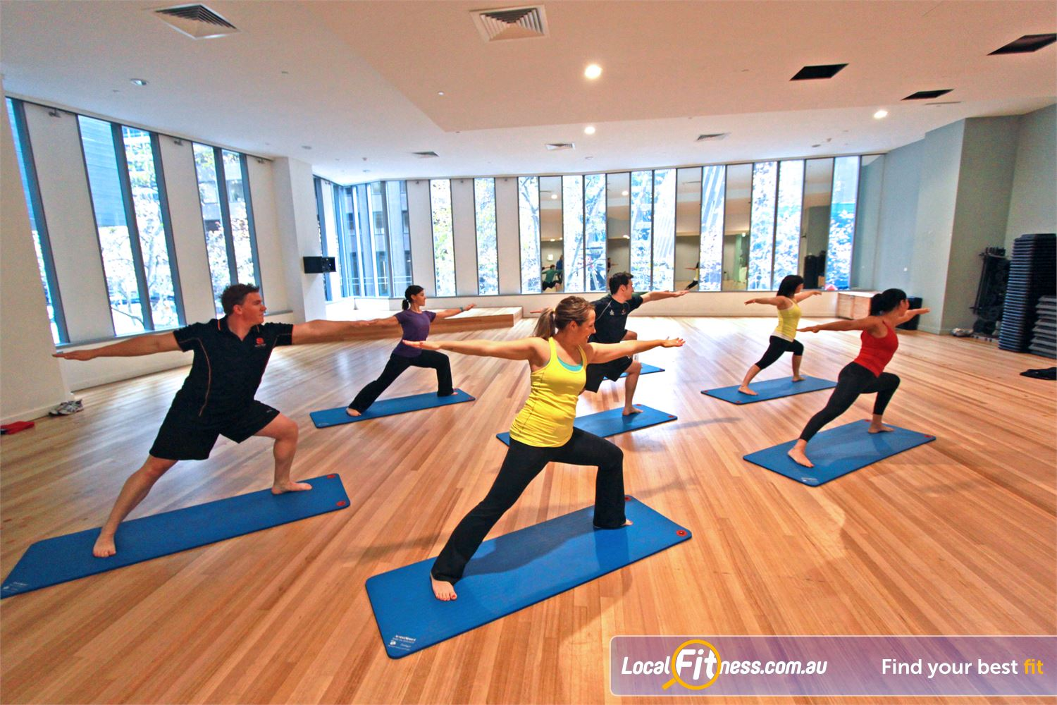 South Pacific Health Clubs Near East Melbourne The spacious Melbourne group fitness studio.