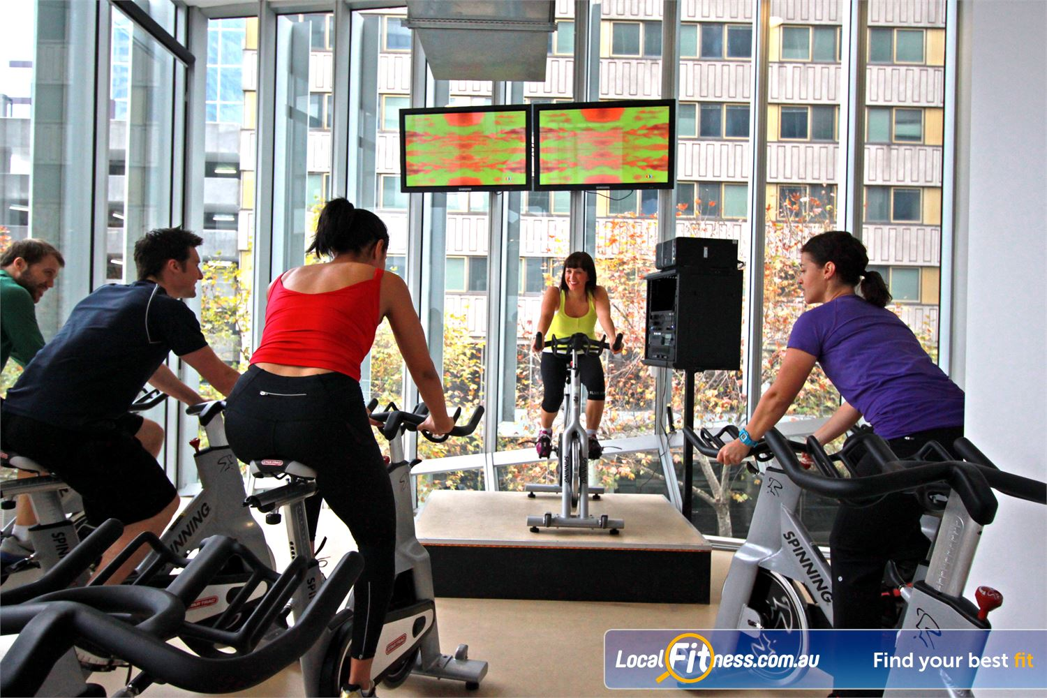South Pacific Health Clubs Melbourne Enjoy scenic views while you burn calories in our Melbourne spin cycle classes.