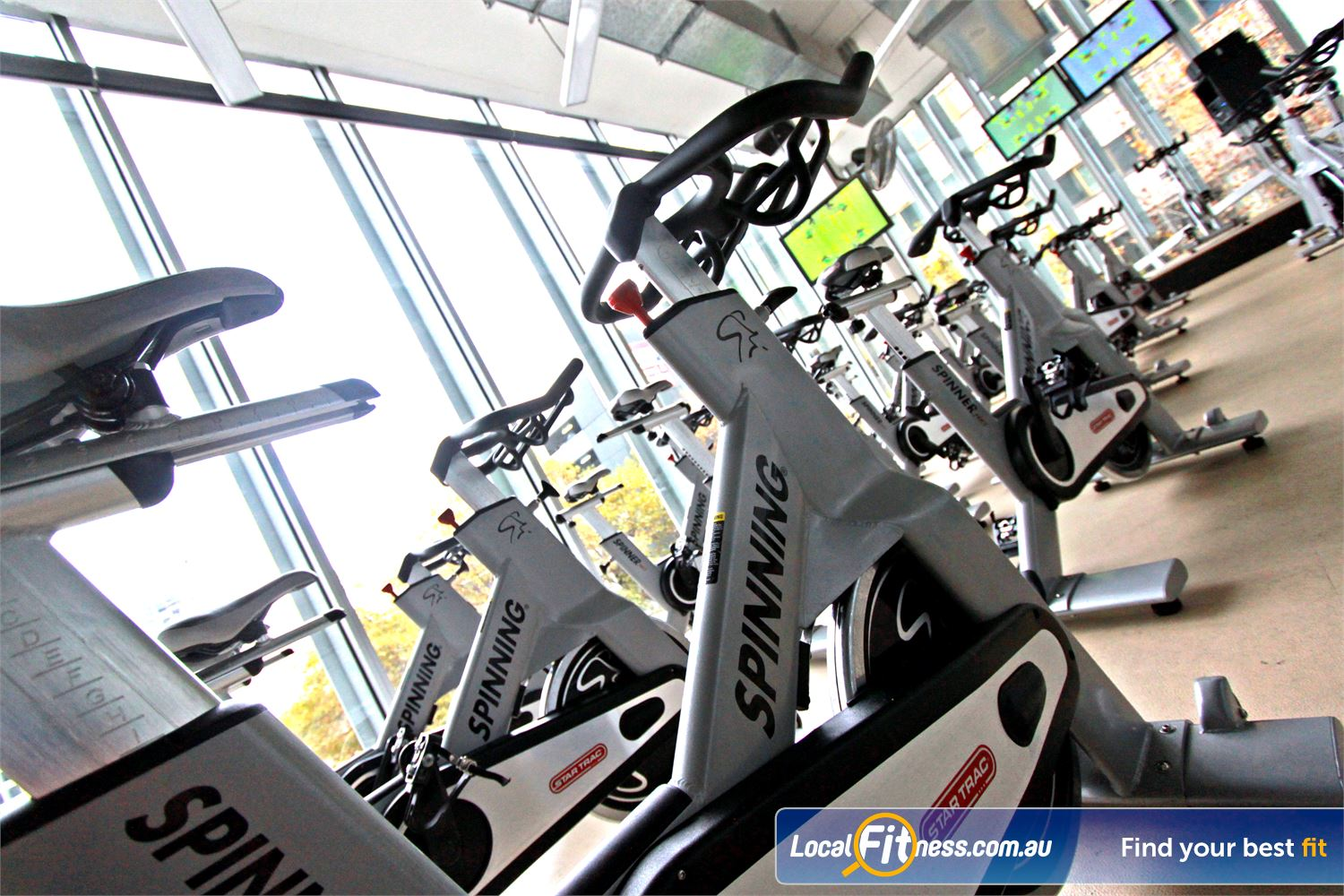 South Pacific Health Clubs Near East Melbourne State of the art spin cycle bikes from Star Trac.