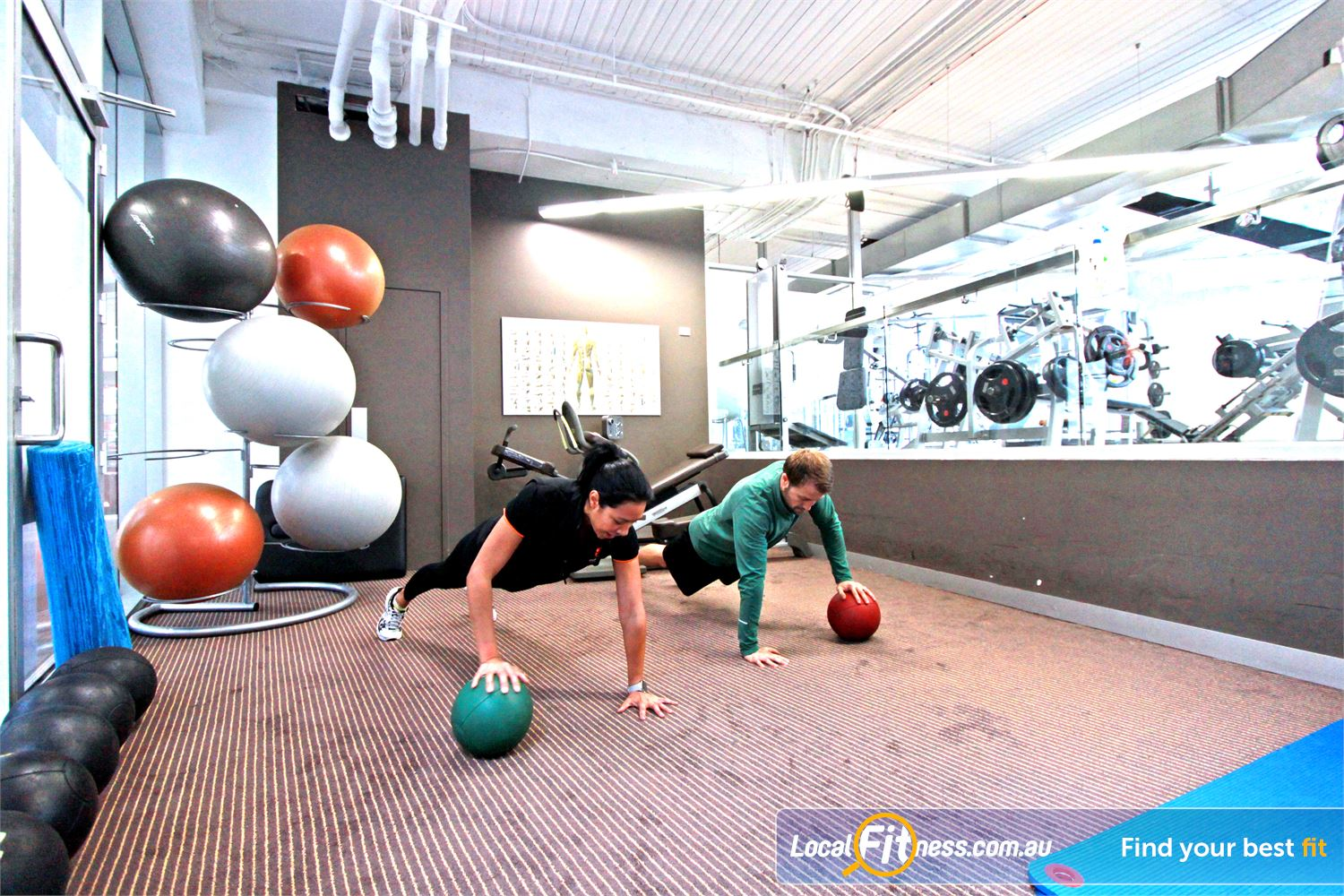South Pacific Health Clubs Melbourne Fully equipped with fitballs, medicine balls and the Technogym FLEXability series.