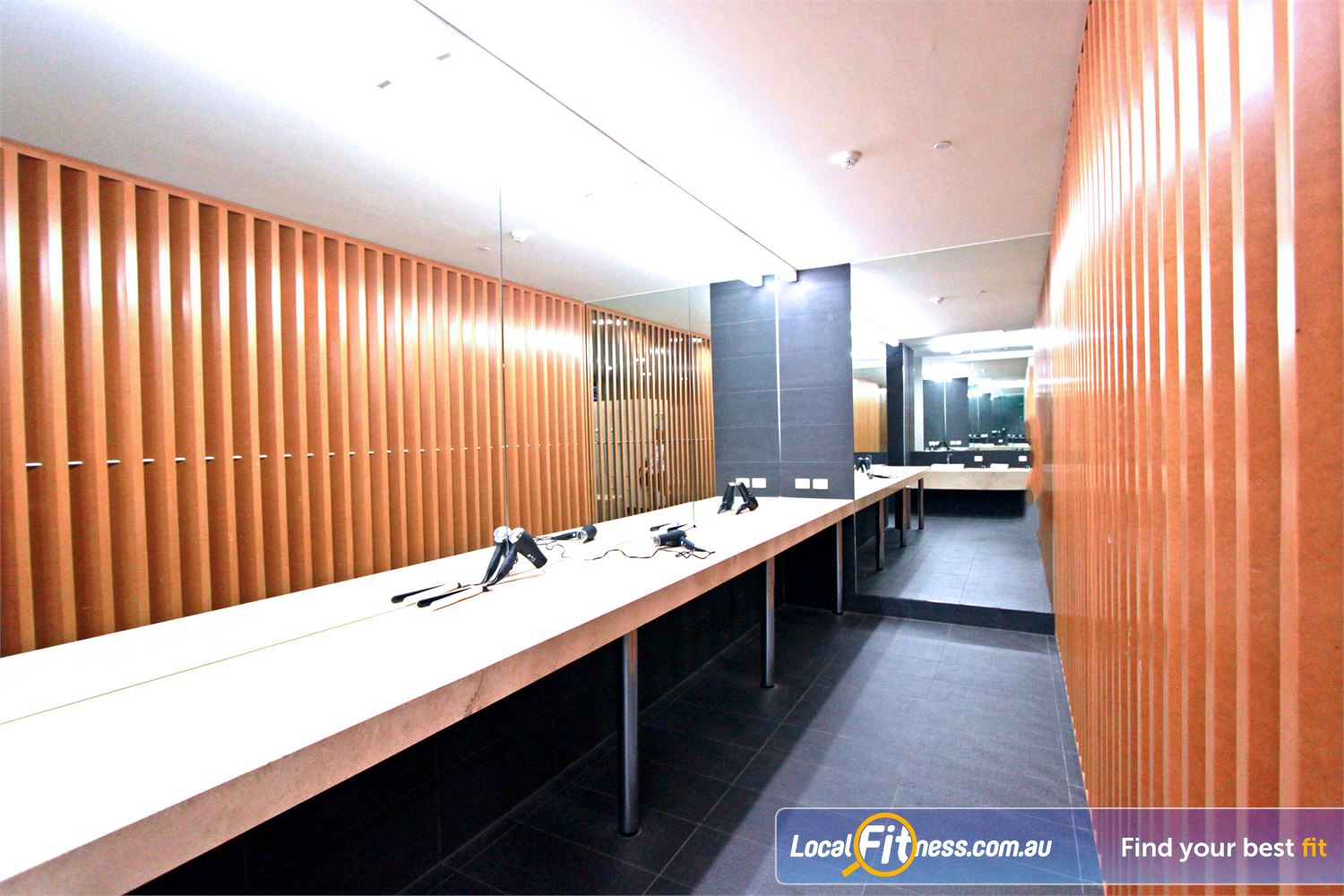 South Pacific Health Clubs Melbourne Professional grooming facilities including hair dryers and hair straighteners.