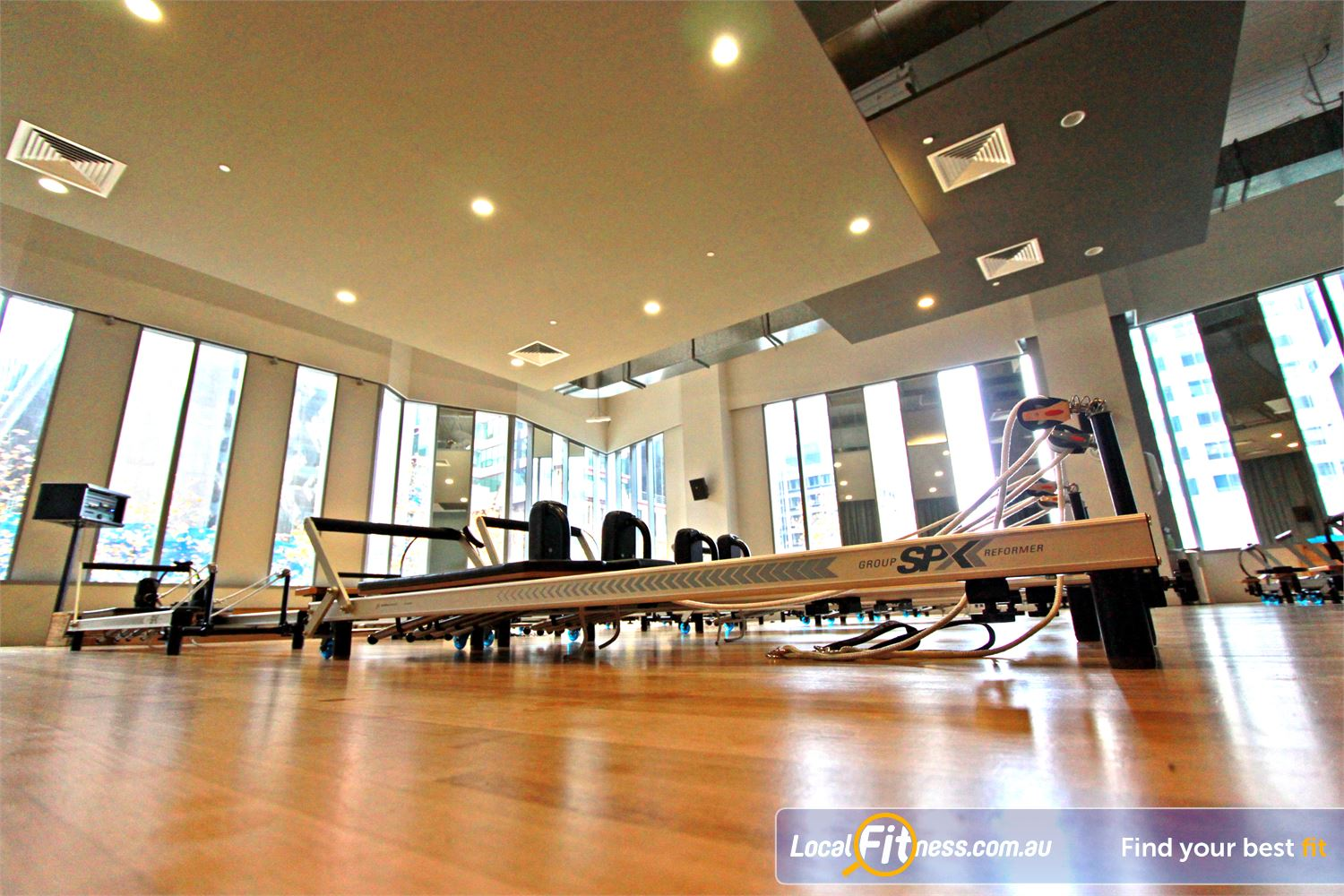 South Pacific Health Clubs Near East Melbourne Stott Pilates SPX Reformer beds.