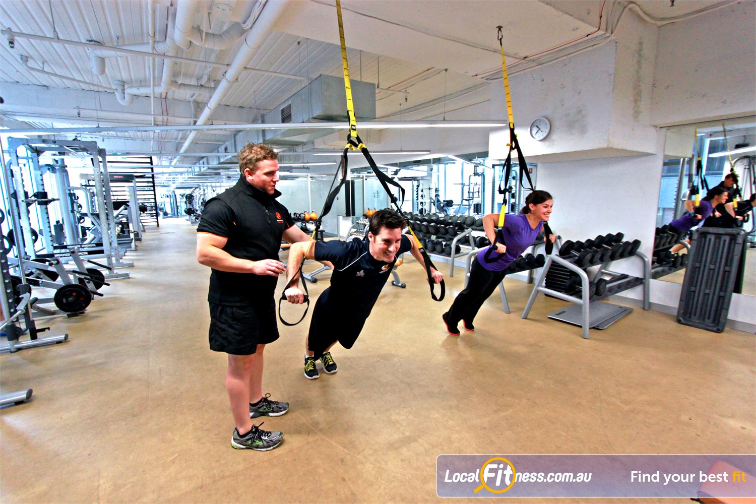 South Pacific Health Clubs Near East Melbourne Melbourne personal trainers can incorporate TRX training into your workout.