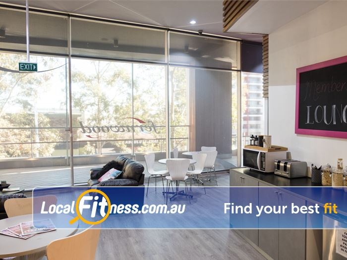 Fernwood Fitness Gym Cherrybrook  | The bright and airy members lounge.