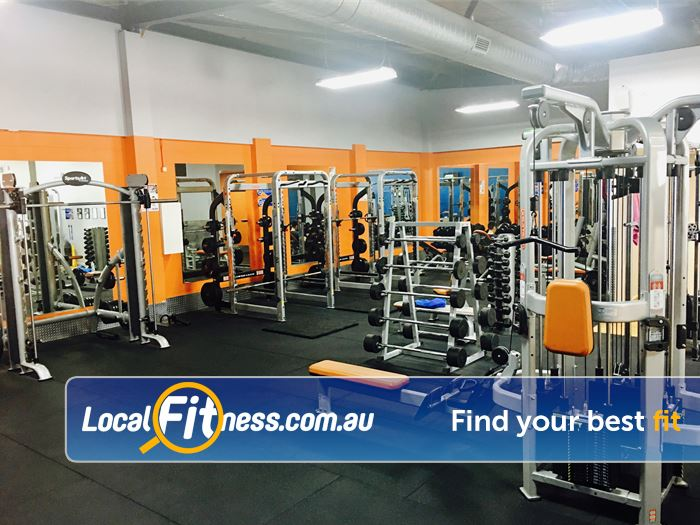 Plus Fitness 24/7 Carlingford Near Pennant Hills The fully equipped free-weights area at Plus Fitness Carlingford gym.