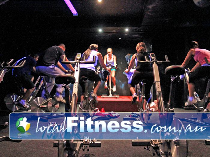 World Gym Bankstown Hand-painted cycle studio walls glow in the dark.
