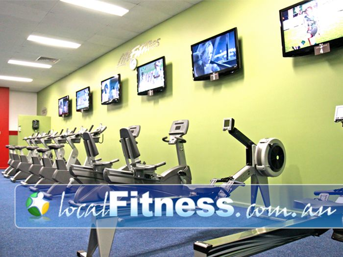 World Gym Near Condell Park Tune into your favorite shows while you enjoy working out on our fitness bikes and rowers.