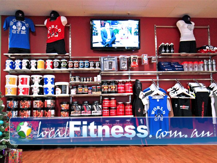 World Gym Bankstown A full range of supplements and the famous World Gym clothing line.