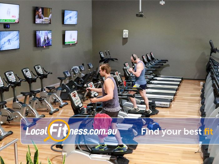 Genesis Fitness Clubs Lawnton Our gym includes rows of cardio plus our 10 TV entertainment wall.