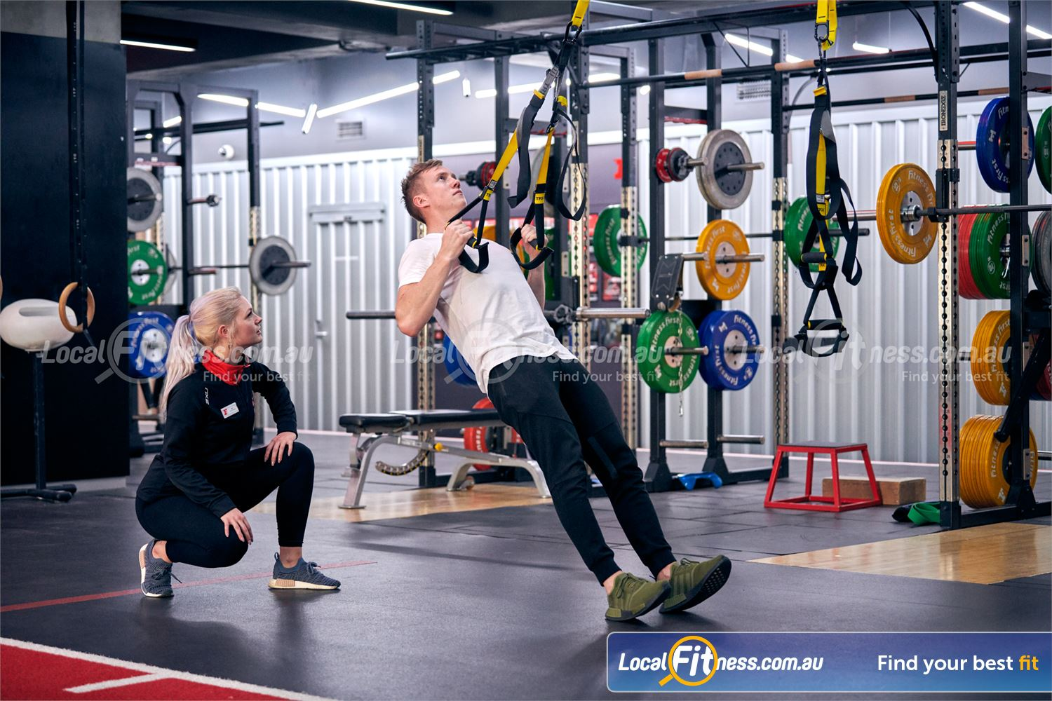 Fitness First Canberra City Canberra Get functional with TRX training and challenge your core.
