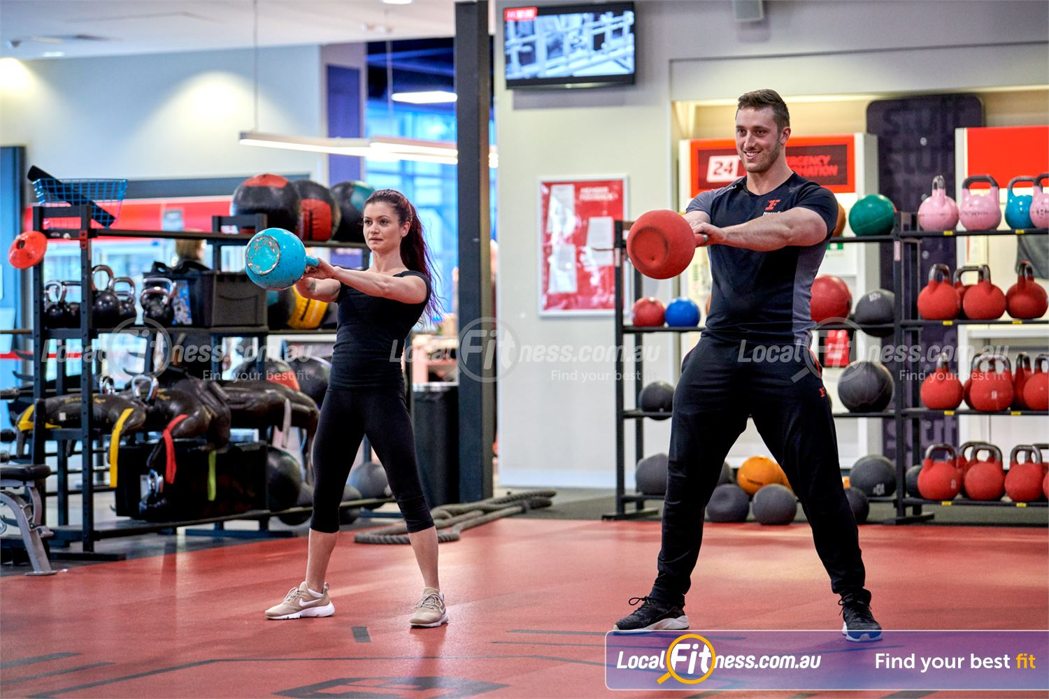 Fitness First Canberra City Canberra Improve your stability and strength with kettlebell swings.