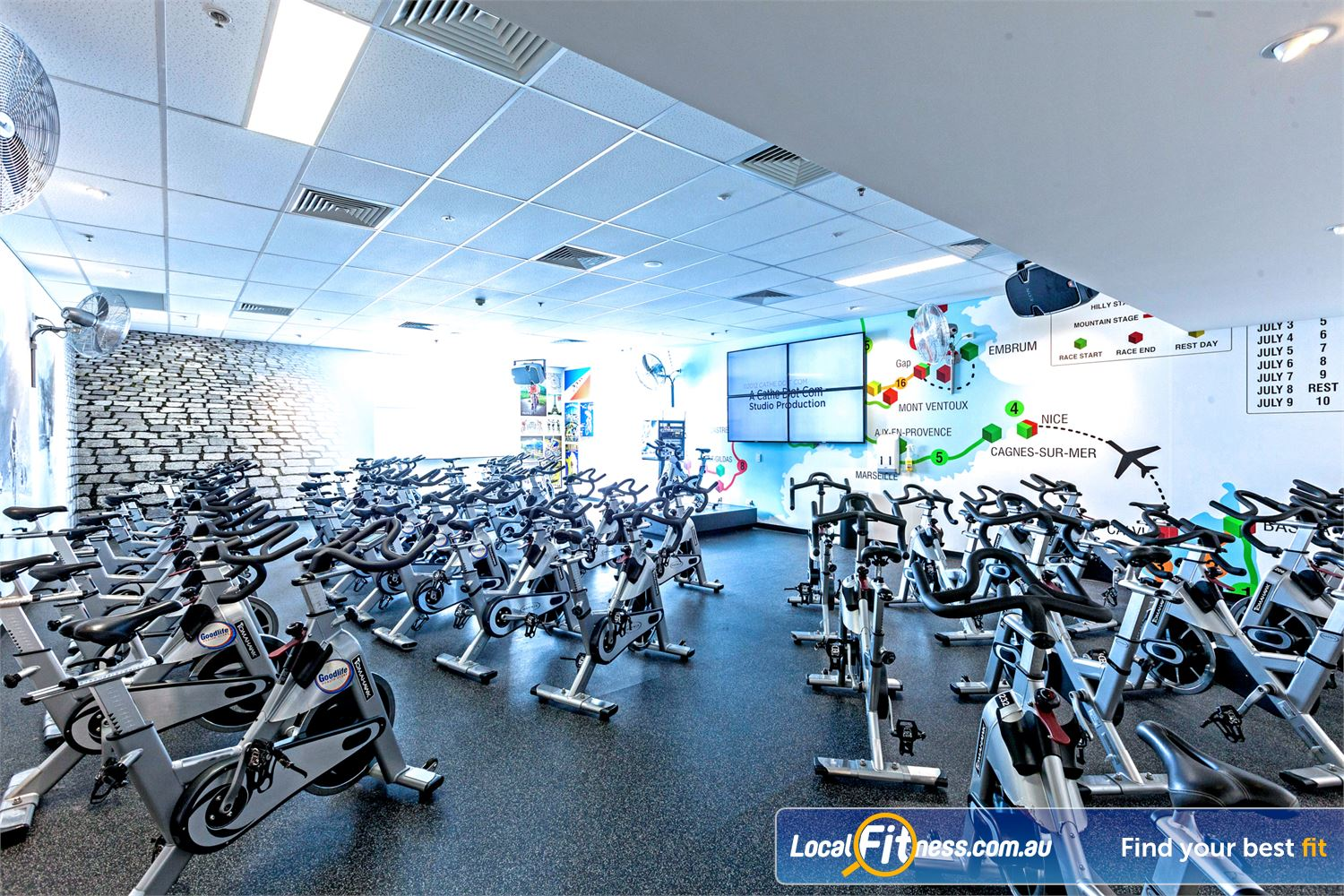Goodlife Health Clubs Fortitude Valley Dedicated Fortitude Valley spin cycle studio.
