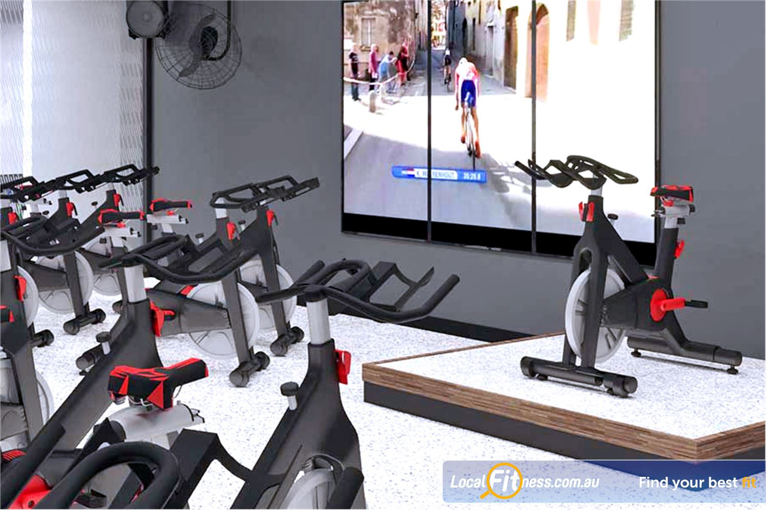 Goodlife Health Clubs Near Seaford Meadows The virtual group fitness screen is great for our Noarlunga cycle classes.