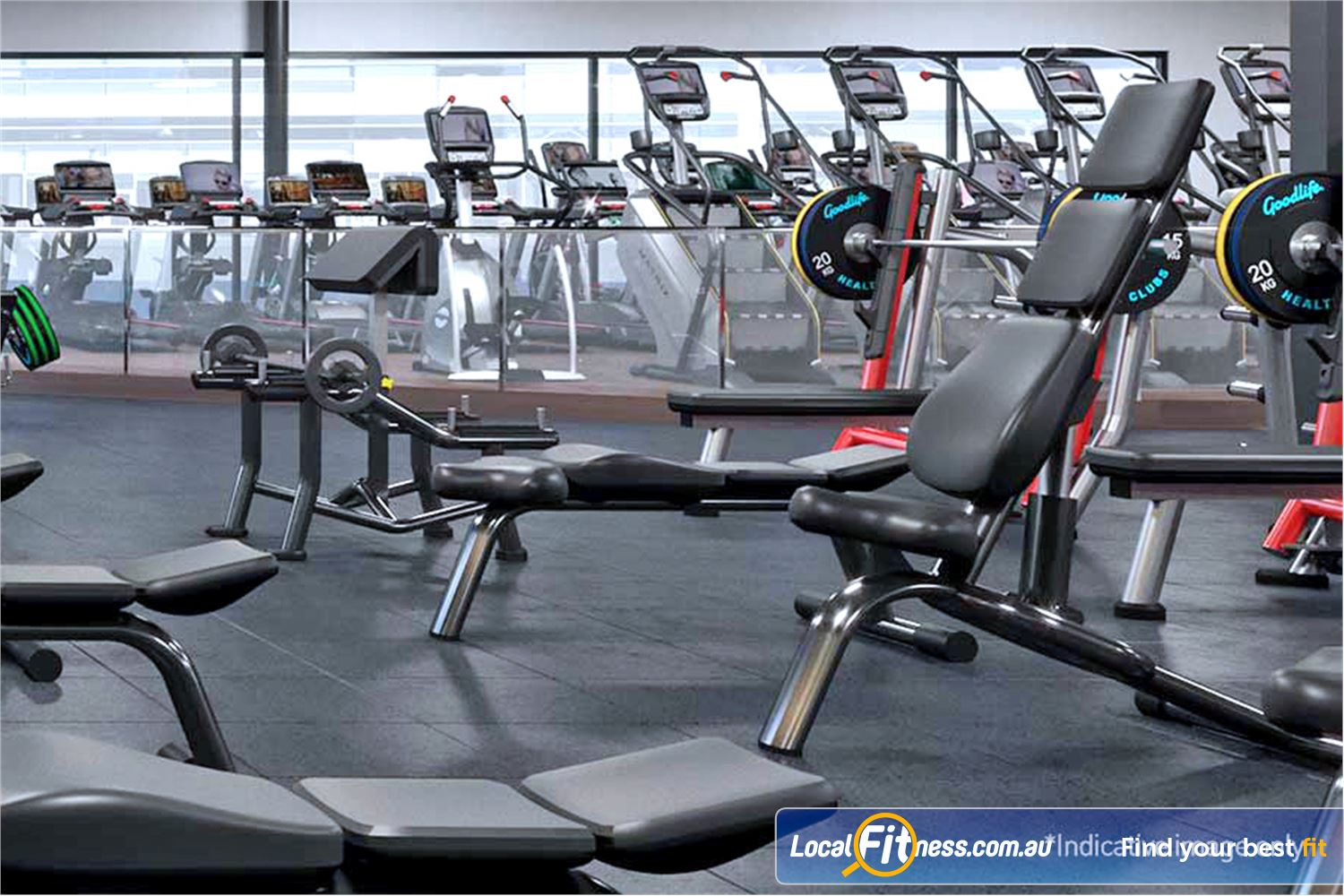 Goodlife Health Clubs Near Seaford Meadows Our Noarlunga gym includes a full range of dumbbells.