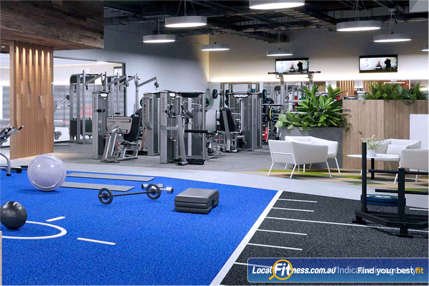 Goodlife Health Clubs Noarlunga Centre Fully equipped functional training zone with Kettlebells, wall balls and more.