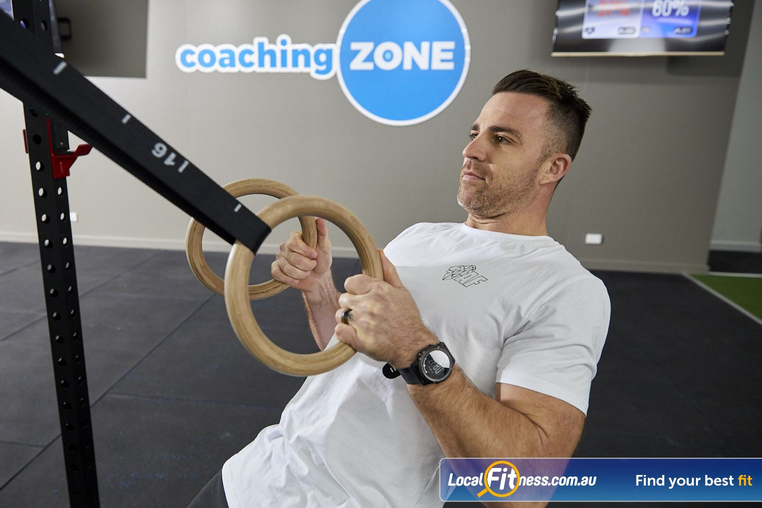 Coaching Zone Ferntree Gully Challenge your body-weight fitness with the gymnastic rings.