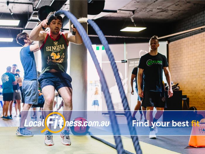 12 Round Fitness Doreen Battle ropes, kettlebells, sled runs will keep your fitness functional.
