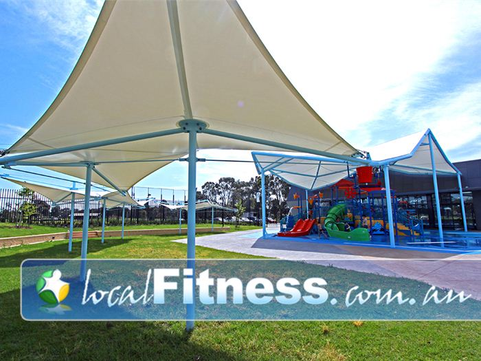 Noble Park Aquatic Centre Noble Park Gym Fitness Grass play and shaded areas.