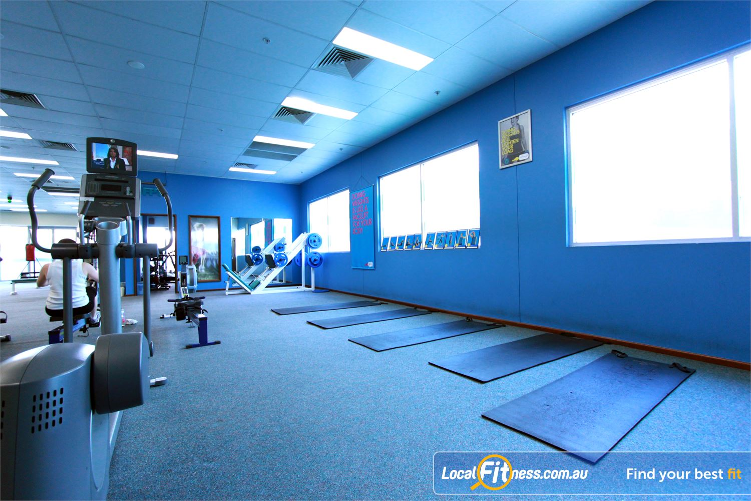 Fernwood Fitness Near Franklin Dedicated ab and stretching zone.
