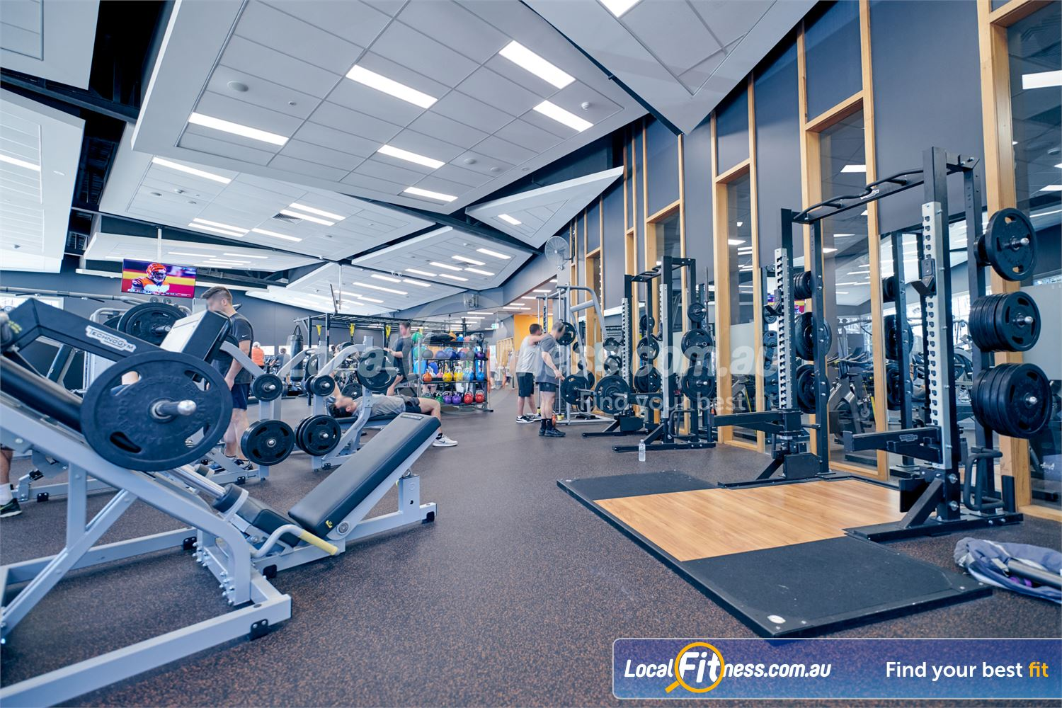 Eltham Leisure Centre Near Templestowe The fully equipped free-weights area at the Eltham gym.