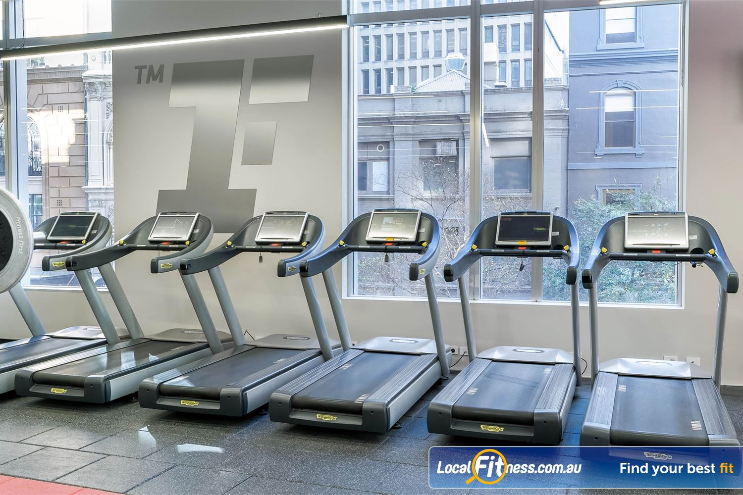 Fitness First Platinum Park St Near Strawberry Hills Our cardio area at Fitness First Park St overlooks the Sydney CBD streets.