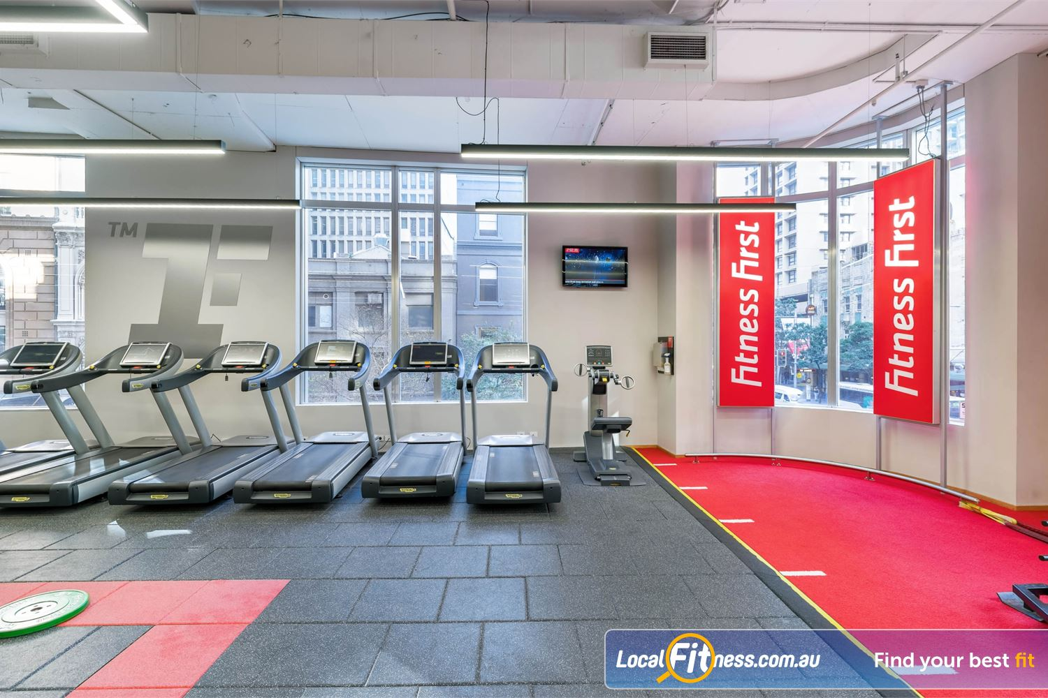 Fitness First Platinum Park St Sydney Cardio options includes state of the art cardio machines and indoor sled track.