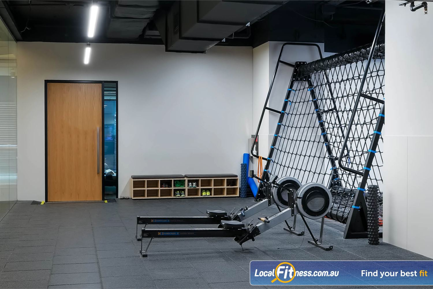 Fitness First Platinum Park St Sydney Indoor rowing and climbing cargo net will challenge your fitness unique to Park St Fitness First.