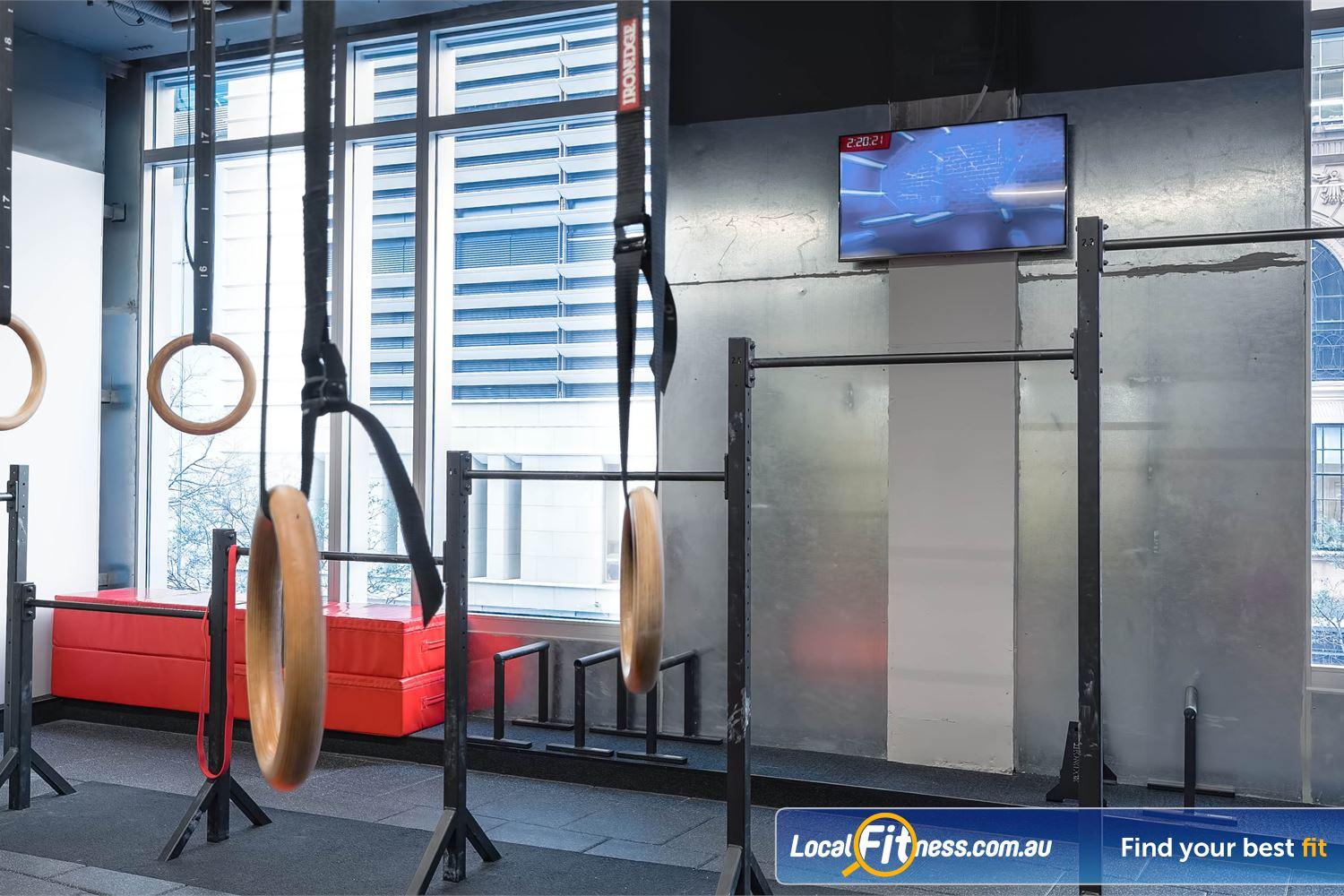 Fitness First Platinum Park St Near World Square Hang, dip, press, planche, muscle-up on our gymnastic matrix strength area.