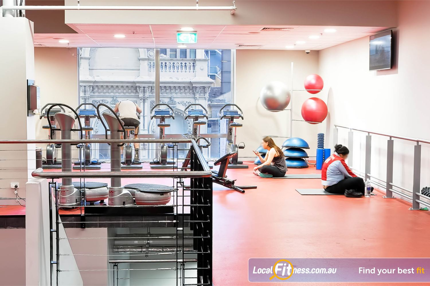 Fitness First Platinum Park St Near Strawberry Hills Dedicated ab and stretching area with Power Plate vibration machines.