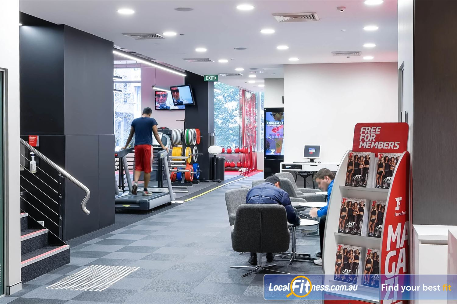Fitness First Platinum Park St Near Alexandria Mc The relaxing Fitness First Sydney lounge.