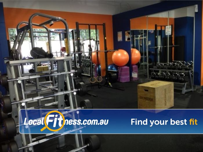 Plus Fitness 24/7 Gym Gladesville  | The fully equipped free-weights area at Plus Fitness