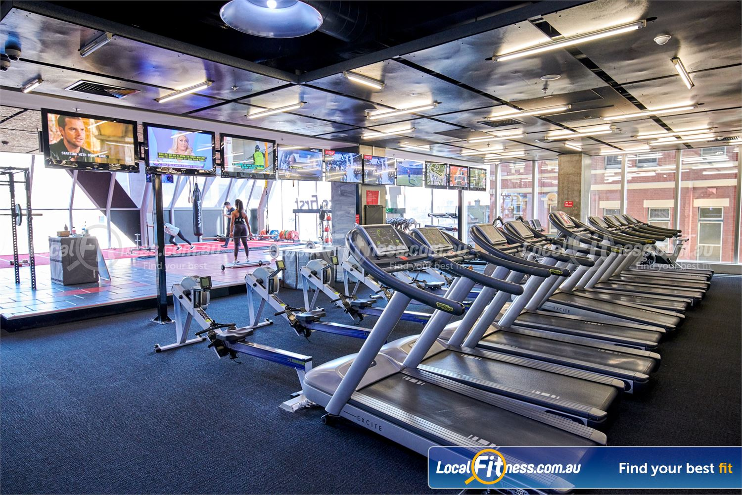 Fitness First QV Platinum Melbourne Stunning views of the Melbourne cityscape from our cardio area.