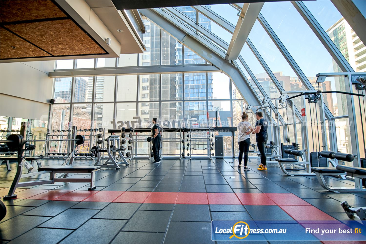 Fitness First QV Platinum Near Southbank Our Melbourne gym includes a fully equipped free-weights area.