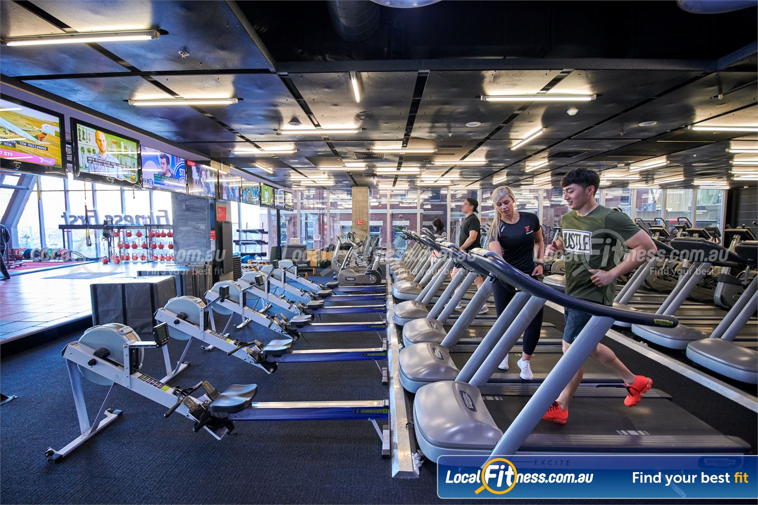 Fitness First QV Platinum Melbourne Rows of state of the art treadmills, cross-trainers and rowers.