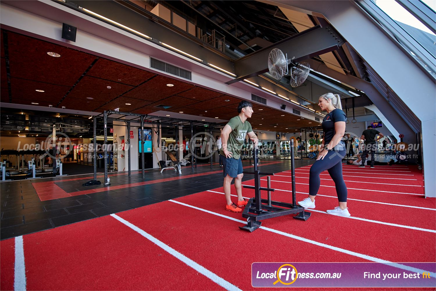 Fitness First QV Platinum Near East Melbourne Indoor speed/agility sled track at Fitness First Melbourne gym.