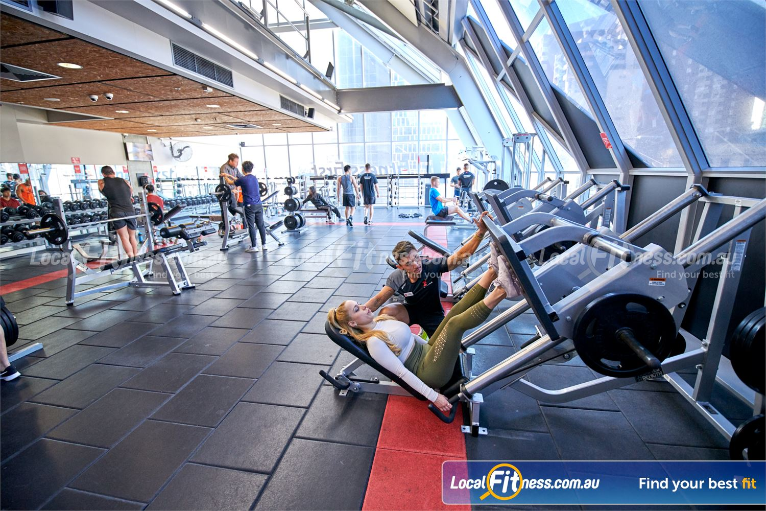 Fitness First QV Platinum Near East Melbourne Our Melbourne gym is fully equipped for leg days with our leg press.