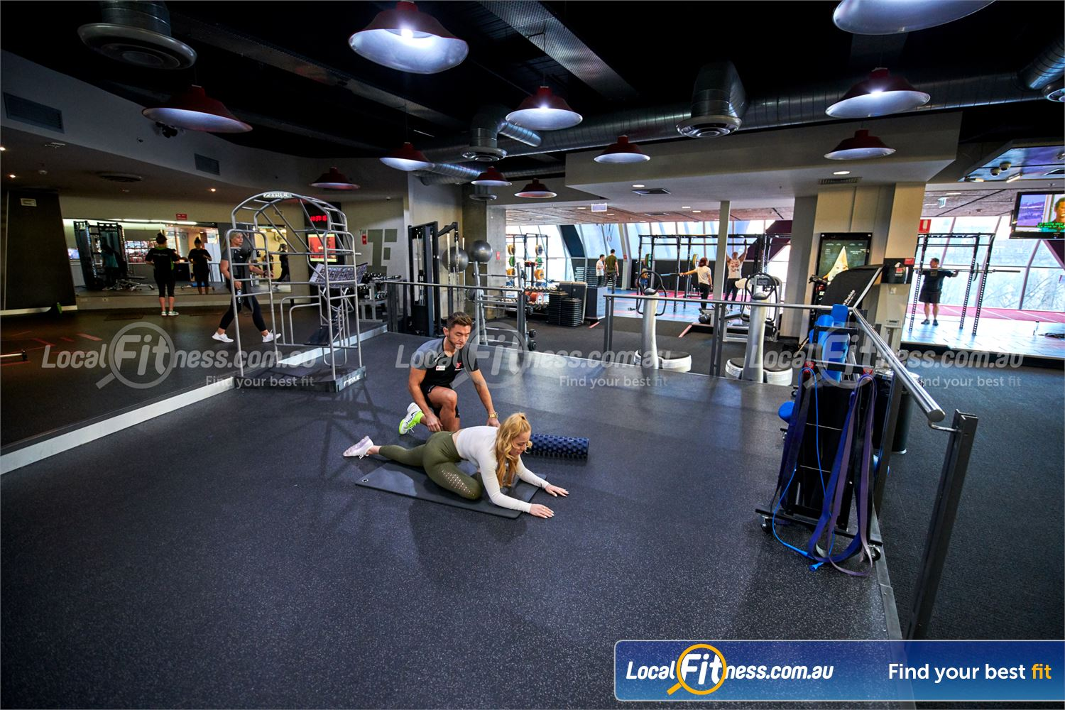Fitness First QV Platinum Near South Melbourne Fully equipped ab and stretching area.