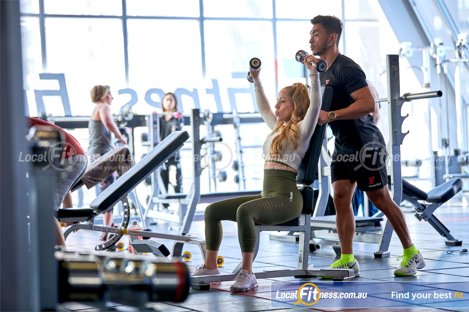 Fitness First QV Platinum Melbourne Our free-weights area inc. dumbbells, barbells, benches and more.