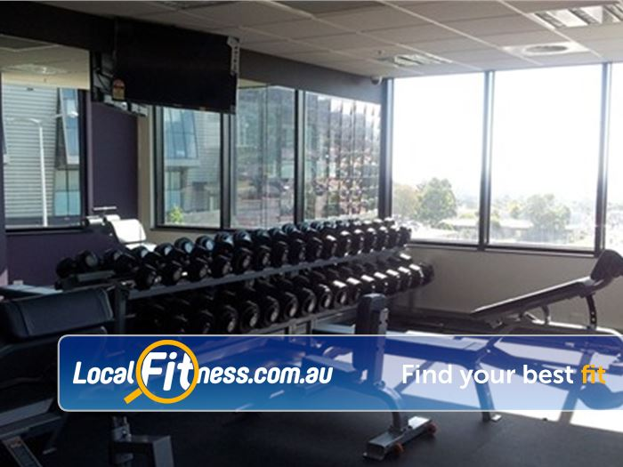 Anytime Fitness Near Blackburn North A fully equipped free-weights area with dumbbells, barbells and more.
