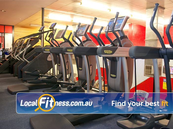 Re-Creation Health Clubs Near Braeside Rows of cardio over 2 levels.
