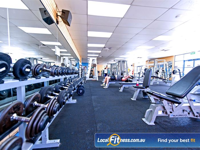 Whitlam Leisure Centre Gym Casula  | The free-weights area in our spacious Liverpool gym.