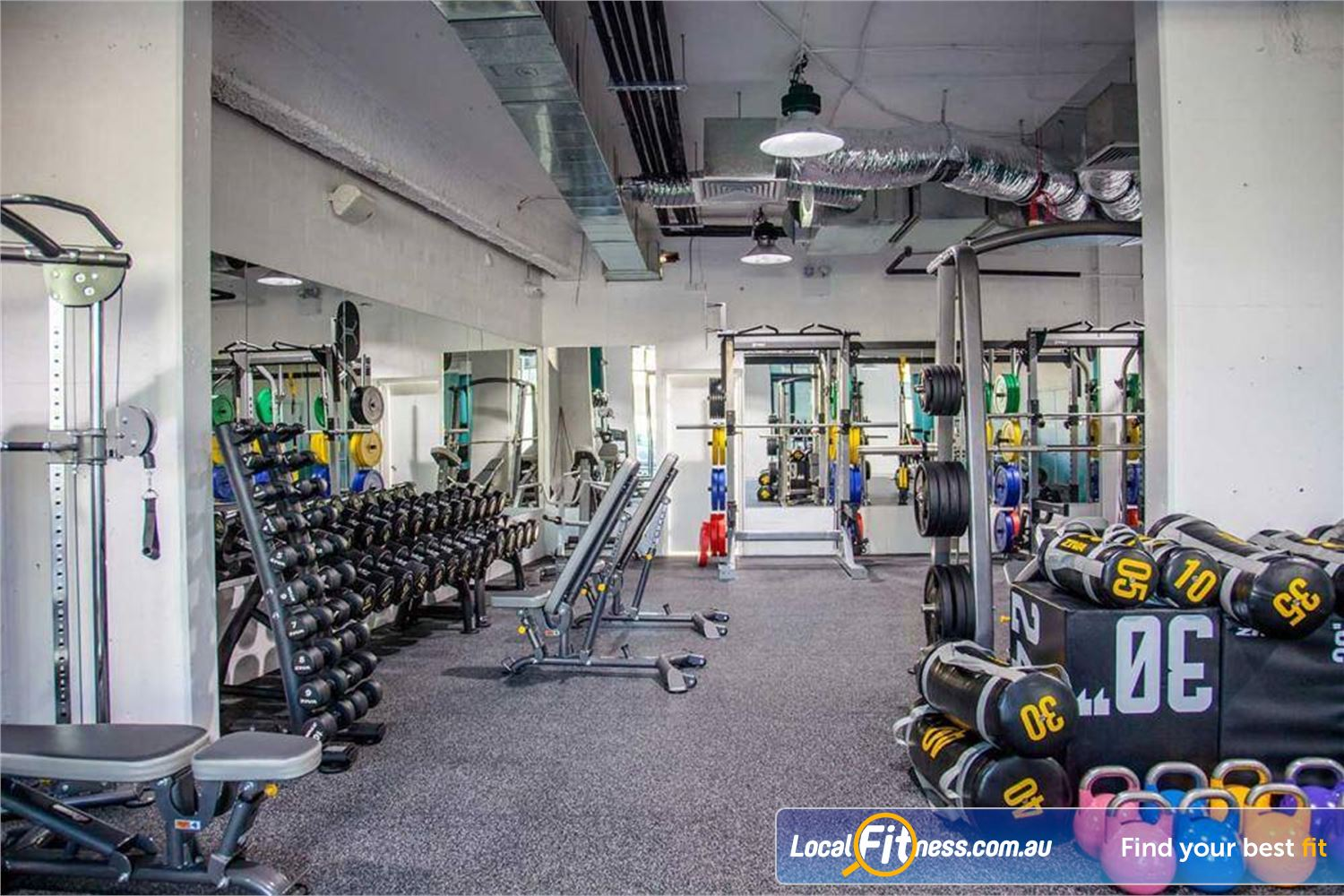 Rushcutters Health Near Woolloomooloo The fully equipped Rushcutters Bay gym space.