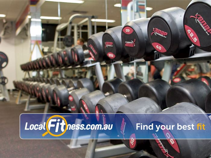 Snap Fitness East Victoria Park Our free-weights area is fully equipped with barbells and dumbbells.