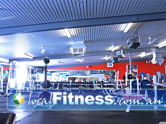 Goodlife Health Clubs Near Palmyra The fully equipped Melville free-weights gym area.