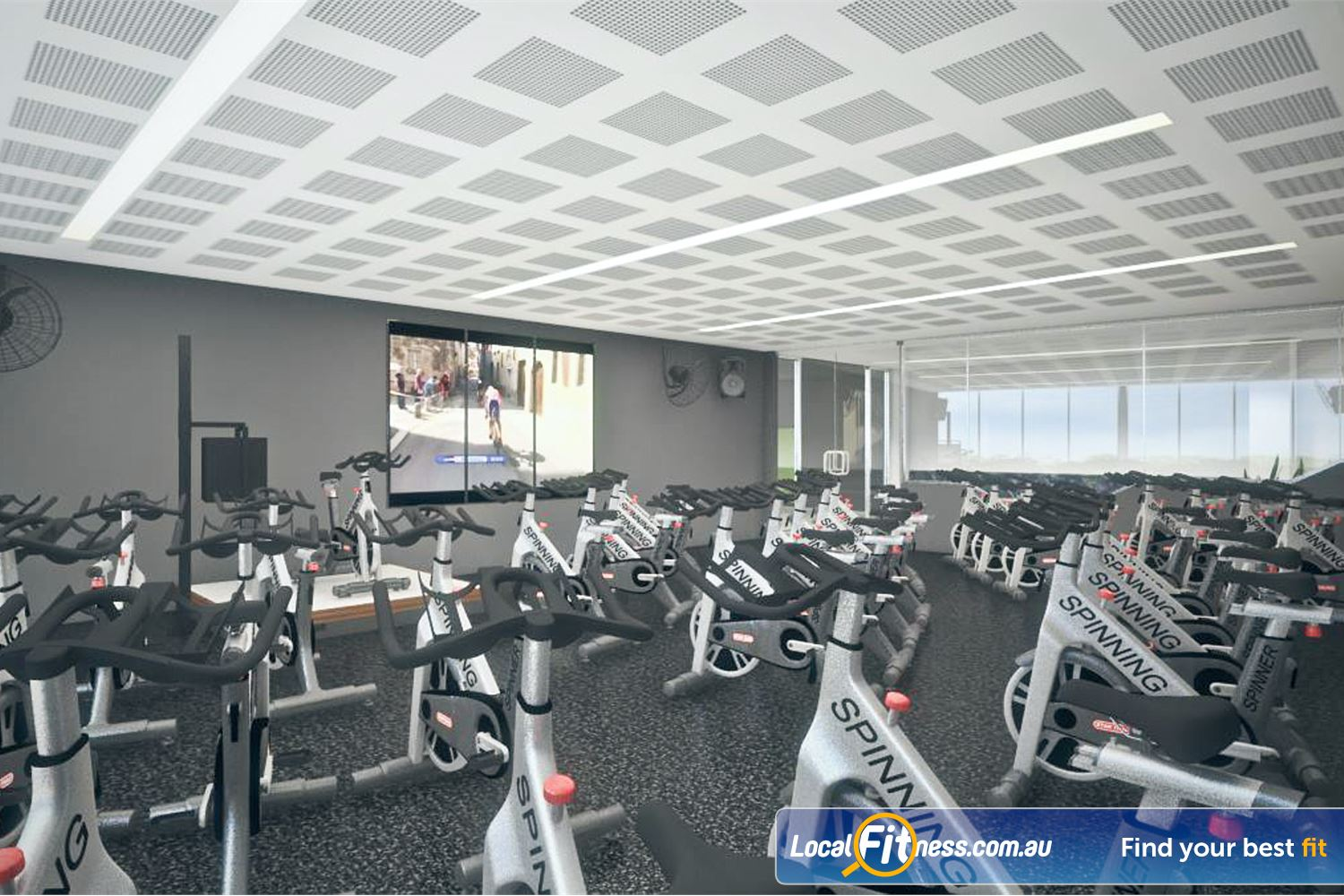 Goodlife Health Clubs Near Wattleup Dedicated Success spin cycle studio equipped with virtual classes.