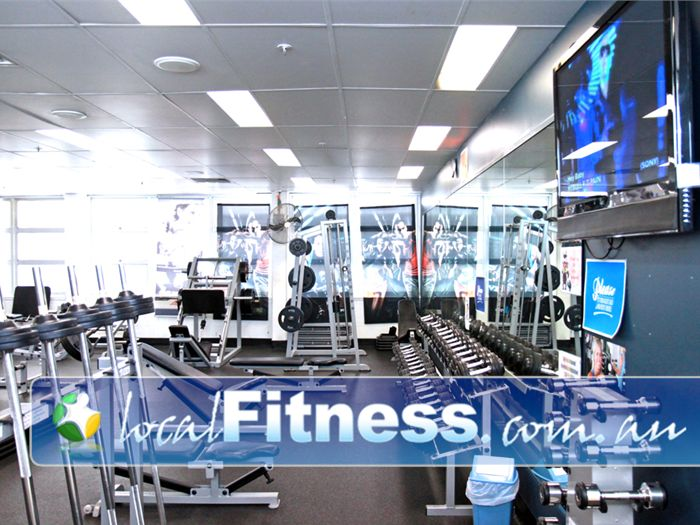 Goodlife Health Clubs Near North Booval The fully equipped Booval free-weights gym area.